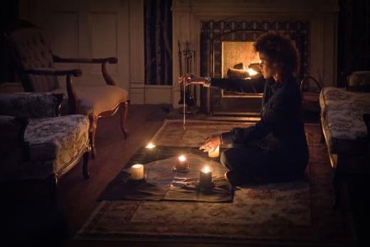 Tasha lights some candles - Supernatural Season 12 Episode 20