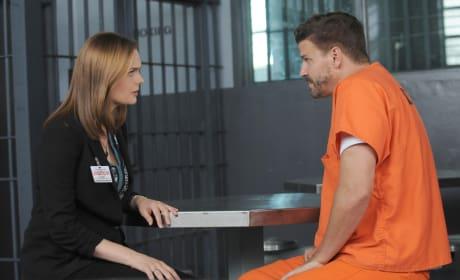 Brennan Visits Booth in Jail - Bones Season 10 Episode 1