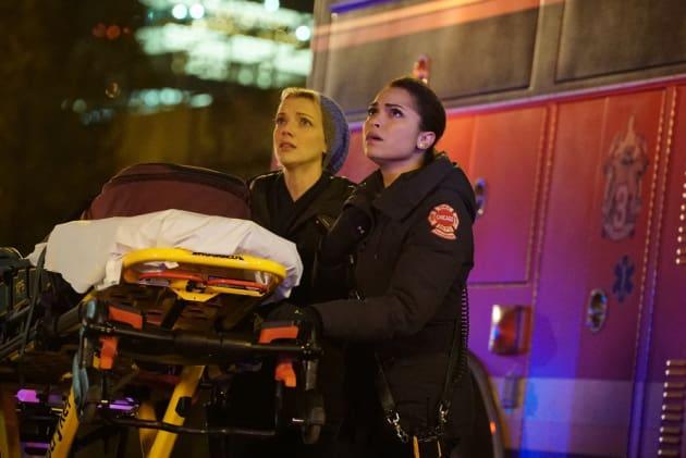 Dawson and Brett Look On - Chicago Fire Season 5 Episode 12
