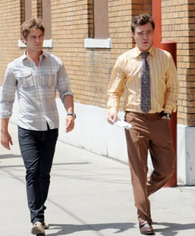 Chace and Ed on Set