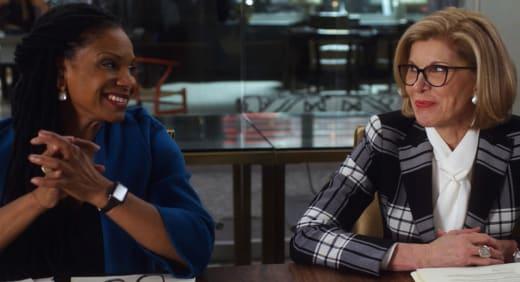 Diane and Liz laugh - The Good Fight Season 5 Episode 2