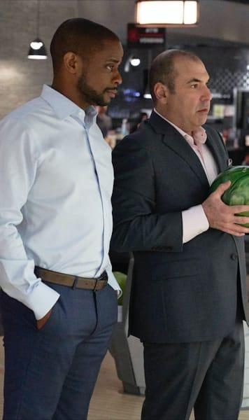 Alex and Louis Bowl - Suits Season 9 Episode 2