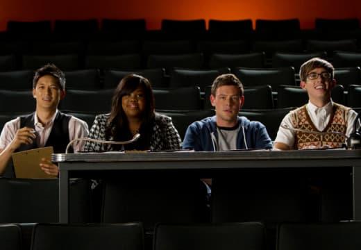 Mike, Mercedes, Finn and Artie