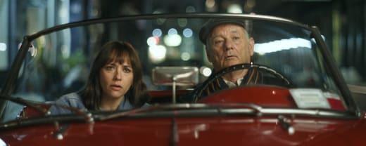 Rashida Jones and Bill Murray in a Car in On the Rocks