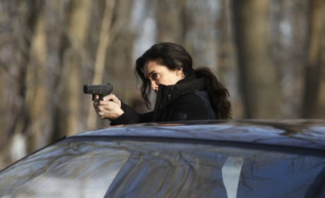 Samar aims her gun - The Blacklist Season 4 Episode 20