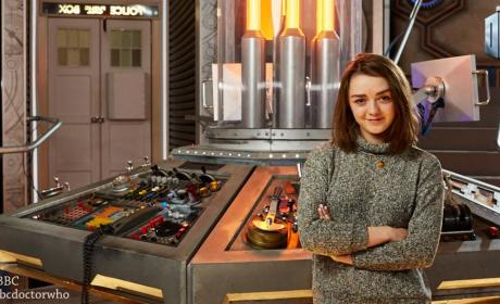 Maisie Williams on Doctor Who Set