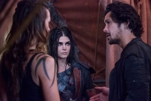 Octavia, Echo, and Bellamy Huddle  - The 100