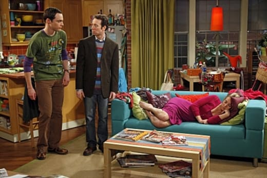 Sheldon and Stuart Put Penny to Sleep