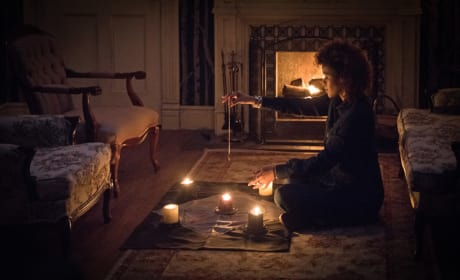 Tasha lights some candles - Supernatural Season 12 Episode 20