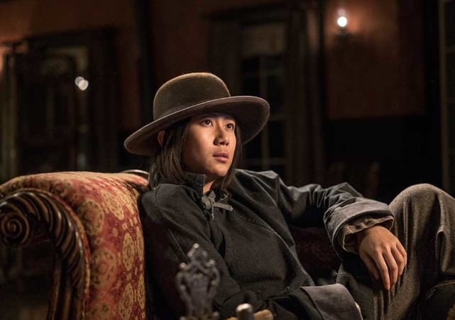 Mei relaxes after a long day hell on wheels season 5 episode 9
