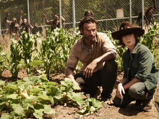 Andrew Lincoln and Chandler Riggs in The Walking Dead