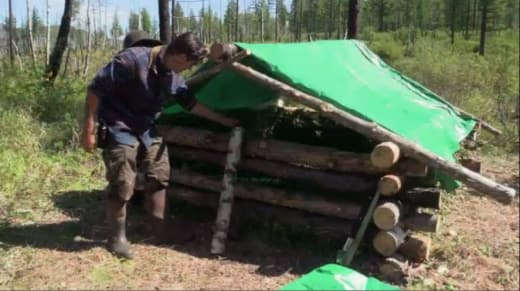Brad Working on His Shelter - Alone Season 5 Episode 2