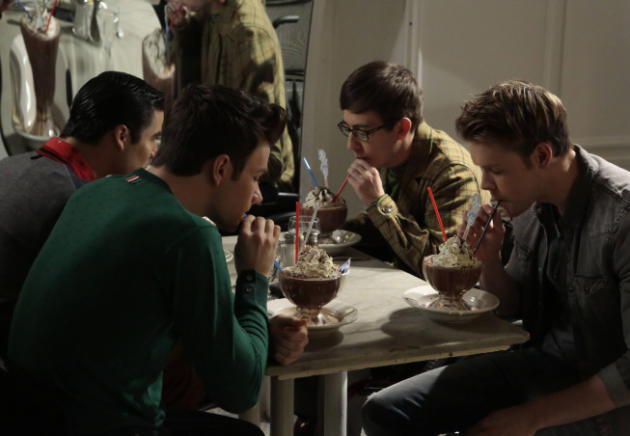 Blaine, Kurt, Artie and Sam