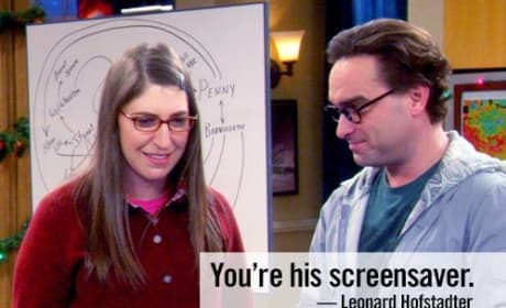 Amy is on Sheldon's Screensaver