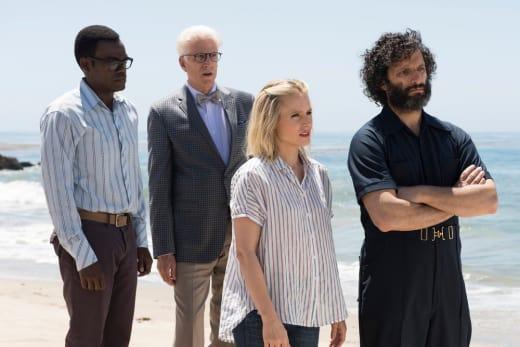 Chidi, Michael, Eleanor, and Derek - The Good Place Season 2 Episode 8