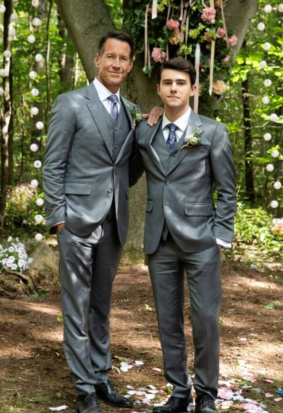 Sam and Nick in Front of the Forever Tree - Good Witch Season 5 Episode 2