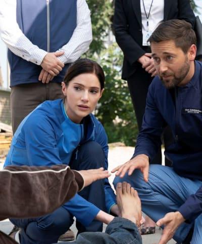 Treating a foot - tall  - New Amsterdam Season 4 Episode 4