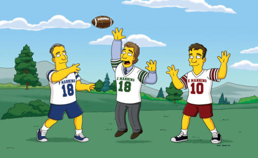 Cooper, Eli and Peyton Manning on Simpsons