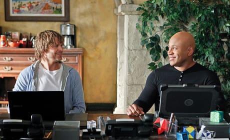 Deeks and Sam Laugh Together