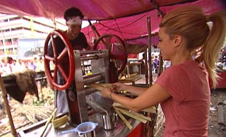 Jill and Thomas Press Sugar Cane