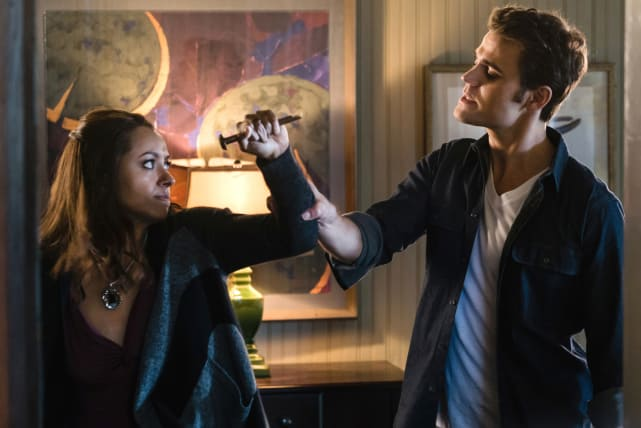 Bonnie Fights Stefan - The Vampire Diaries Season 8 Episode 11