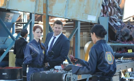 Warren, Booth, and Cam Look at Remains - Bones Season 10 Episode 15